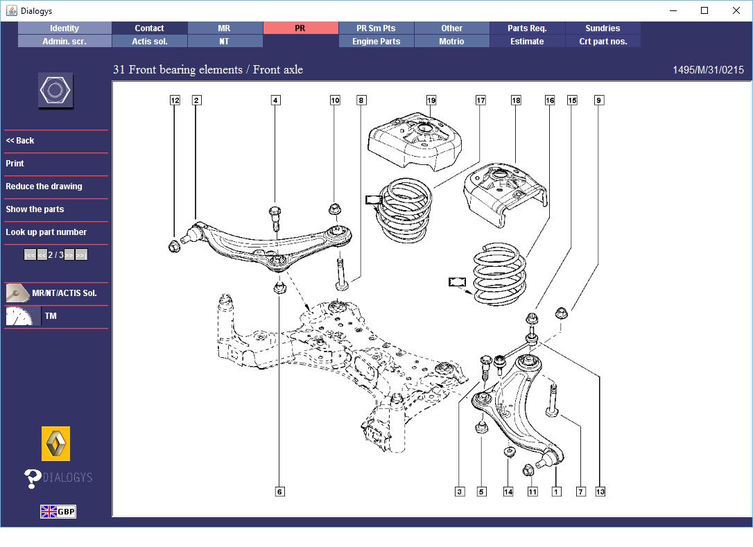 Renault       Megane    RS265 Front Suspension  Parts    Diagrams       1
